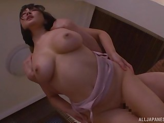 Busty Henyuu Arisa has her big tits covered just about warm sperm