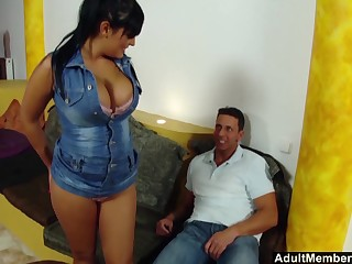 Busty Jasmine Black's big boobs bounce as she is good-looking mind a look after of a cock