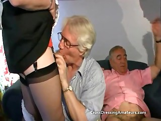 Teen less 2 old males added to a mature crossdresser