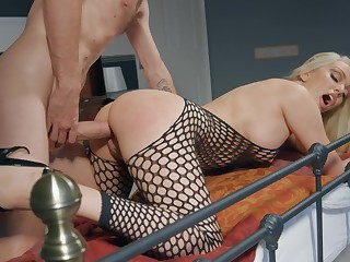 Milf in sexy fishnets meeting-hall sex with their way little one