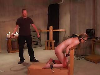 Blonde kinky slut blindfolded and whipped hard and long