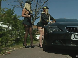 Busty officer Georgia Jones brings in a criminal to fuck their way