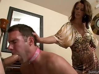 Cuckold Hubby Blows Thick Dick