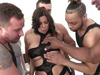 Perverted Alexis Fawx is ready for hard double penetration added to mouthfuck