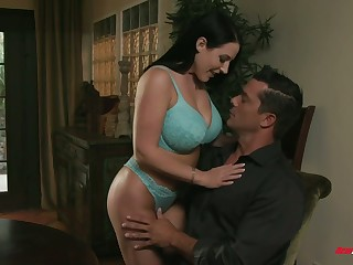 Enormous boobies of busty MILFie cowgirl Angela White bounce at near lovemaking
