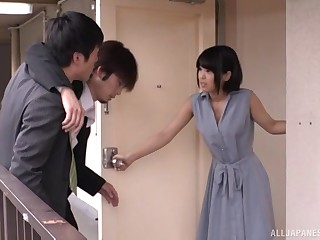 Japanese short haired brunette gets cum on prospect upon a bra