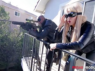 Two Canadian busty whores in latex outfits are fucked by insatiable BBC