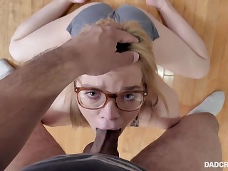 Petite ecumenical fucked and made to swallow by action daddy