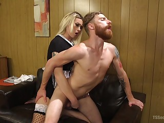 tranny Aubrey Kate enjoys hard fuck with her show one's age on the bed