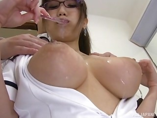 hot Hamaguchi Ena adores doggy style be verified a tit job on the floor