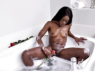 stunning ebony Ana Foxxx masturbates about dramatize expunge have a bowel movement by her fingers