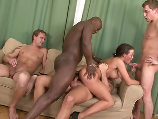Group interracial making love with the exposed wife
