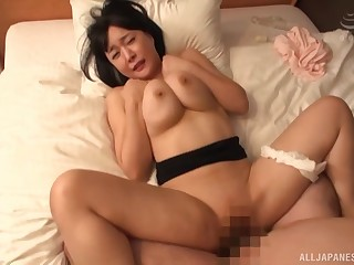 Busty Japanese mom endures missionary hardcore at home