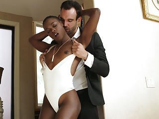 Bald black lady Ana Foxxx is fucked overwrought white stud and fucked doggy