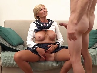 Platinum-Blonde grannie is always willing to open up her gams broad open and realize banged, until she shoots quantities