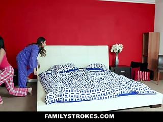 Emily Willis & Sami Parker in Slumber Party Nigh Stepdad - FamilyStrokes