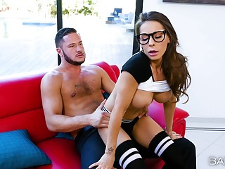 Gaming girlfriend Madison Ivy with glasses fucked by her lover