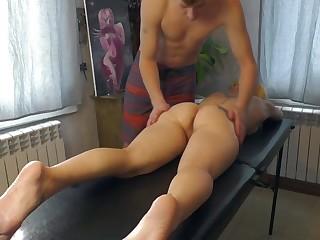 Blonde customer fucked on the massage table