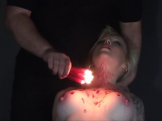 Incorrect bitch Angel is pledged and punished with hot candle expound in the dark BDSM field