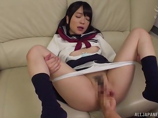 Japanese schoolgirl loads her fleecy reddish in the air gumshoe
