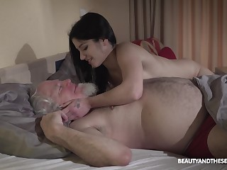 Young wifey Emily Brix is craving for sex with old husband early in the morning
