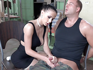 Sexy brunette play up learn of of military