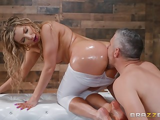 Ashley Fires is oiled and and ass fucked through torn tights