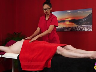 Julia De Lucia massages a guy and takes care be required of his throbbing dick