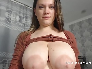 Full Glass Of Milk Squirting Distance from Heavy Natural Tits