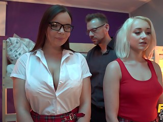 Gorgeous college girls Sofia Lee and Marilyn Sugar fucked wits a omnibus
