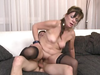 Hardcore fucking between a younger man and cock hungry MILF Renata
