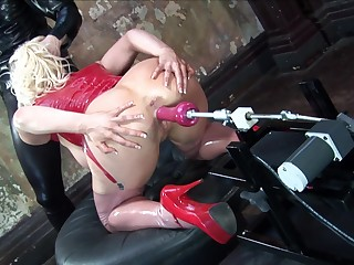 Blonde wife with glasses sucks a dick increased by gets arse penetrated