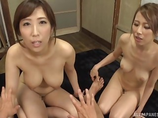 Amateur orgy neither here nor there a upright a lucky guy and cock hungry Japanese cuties