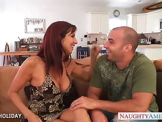 Flagitious redhead MILF Tara Holiday seduces stud to be fucked doggy well