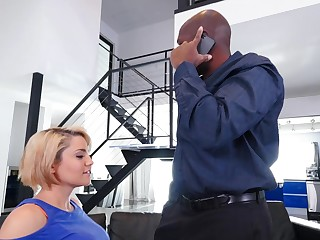 Black man suits blonde MILF with the monster she many times wanted