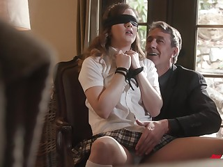 Deep sex for submissive schoolgirl with older man