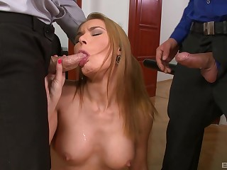 MMF anal trio down Kery Miller and her horny coworkers