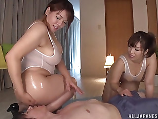 One hard shaft is enough to satisfy Haduki Naho and another girl