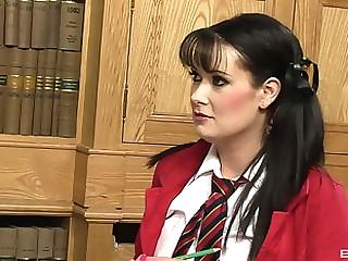 Curmudgeonly schoolgirl raises her grades by bonking her academician