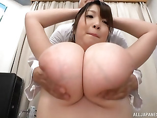 Horny guy likes to play with friend's big tits while she moans