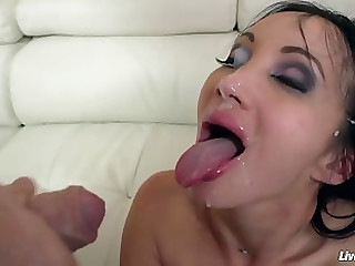 Attractive brunette French MILF featuring hardcore sex video
