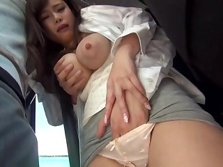 Big-Chested, Japanese black-haired is getting sexually abused in a public buss, but she enjoys it a assemble
